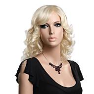 Capless högkvalitativa syntetiska medellängd blond mode vågig peruk