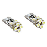 T10 8x1210 SMD White  LED Bulb for Car Signal Lights CANBUS (2-Pack, DC 12V)
