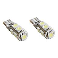 t10 1.5W 9x5050 SMD luz branca levou canbus bulbo de lâmpadas para automóveis de sinal (2-pack, 12V DC)