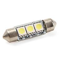 36mm 1W 3x5050 SMD 60lm Weißlicht LED-Lampe für Auto-Lampen (12 V DC)