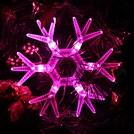Snowflake formet Pink Light LED String fe Lampe til jul (3xAA)