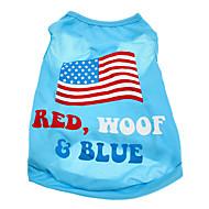Hunde T-shirt Blau Hundekleidung Sommer Nationalflagge / Amerikaner / USA