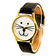 Kvinners Cat Face Design Casual PU Band analog kvarts armbåndsur (svart)