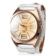 Women's Quartz Analog Big Tawny Dial White PU Band Wrist Watch