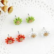 Κουμπωτά Σκουλαρίκια Μαργαριτάρι Κράμα Flower Shape Βυσσινί Κίτρινο Πράσινο Μπλε Ροζ Κοσμήματα Πάρτι Καθημερινά