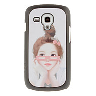 Pink Glasses Girl Drawing Pattern Protective Hard Back Cover Case for Samsung Galaxy S3 Mini I8190