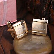Személyre szabott ajándék arany Squared Gravírozott mandzsettagombok