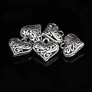 encantos de la aleación de plata del corazón dulce 5 unidades / bolsa (plata)