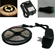 5M 150X5050 Smd Warm White Led Strip Light and Connector and Ac110-240V to Dc12V3A Transformer