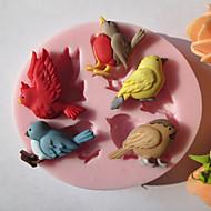 Cinq oiseaux de chocolat de silicone / Fondant / Sucre Mold