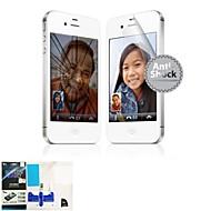 Anti-Shock Protection Skade Front Screen Protector med mikrofiberklut og Scratch Card til Apple iPhone 4