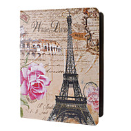 Eiffel ja Pink Rose Pattern Full Body Case telineellä iPad 2/3/4