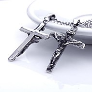 Personalized Gift   Men's Stainless Steel Jesus Cross Shaped  Engraved Pendant Necklace Jewelry with  60cm Chain