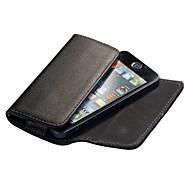 Preto Lichee Pattern Caso carteira de couro da aleta magnética para iPhone 4S/5S/5C