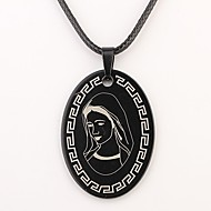 Presente personalizado Oval cristão Padrão   Colar Gravado