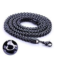 Персональный подарок Черный ювелирные изделия нержавеющей стали Гравировка цепи ожерелье 0.5cm Ширина