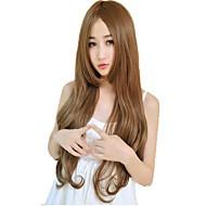 Vrouw Capless side bang synthetische lange golvende pruiken 23 inch 4 kleuren beschikbaar