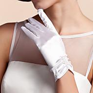 Håndledslængde Fingerdupper Handske Satin Brudehandsker Forår Sommer Efterår Vinter Plissering