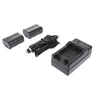 ismartdigi-Sony NP-FV50 (2 Stück) 1030mah, 7.2V Kamera Akku + Ladegerät für SONY HDR-CX180E XR160E CX270E PJ580E PJ260