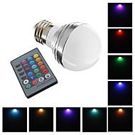 E26/E27 3W 1 High Power LED 240 LM RGB LED Globe Bulbs AC 220-240 V