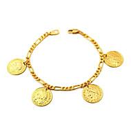 u7® figaro Ketten Gold gefüllt Münze Anhänger Armband-Armbänder 18k reales Gold überzogen mit 18k Stempel 2mm 21cm
