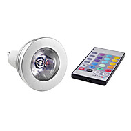 GU10 3W 1 High Power LED 150 LM RGB MR16 Remote-Controlled LED Spotlight AC 85-265 V