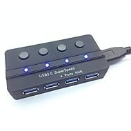 Portátil SuperSpeed USB 3.0 4-Port Hub com interruptor independente