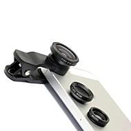 Universellt 3-i-1-objektiv med spänne, fiskögeobjektiv, vidvinkelobjektiv och makroobjektiv (svart)