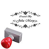 gepersonaliseerde 33x63mm bruiloft& zakelijke bloemstijl 2 lijnen rechthoek gegraveerd lichtgevoelige zegelring stempel (binnen 10 letters)