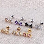 Lureme®316L Surgical Titanium Steel Zircon Bowknot Single Stud Earrings (Random Color) Christmas Gifts