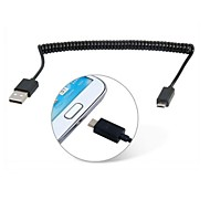 1M 3.28FT USB 5pin to USB 2.0 Stretch Data Charge Cable for Samsung S4 i9500 S5 i9600 Note2 N7100 Note3 N9000 & Tablet