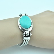 Vintage 18cm Women's Antique Silver Alloy Turquoise Bracelet(Green)(1 Pc)
