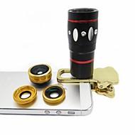 4 en 1 téléphone lentille fisheye objectif grand-angle 10x macro téléobjectif avec clip pour iPhone 6 plus (couleurs assorties)