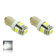BAX9s H6W 1W 5X5050 SMD White Lights 5500K LED Light Bulb for Car Lamp (DC 12V , 2-Pack)