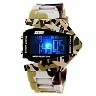 Hombres Estilo ejército de múltiples funciones LED de colores de camuflaje de silicona banda reloj de pulsera (colores surtidos)