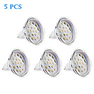 5 pcs GU5.3 4 W 15 SMD 2835 300 LM Warm White MR16 Spot Lights DC 12 / AC 12 V