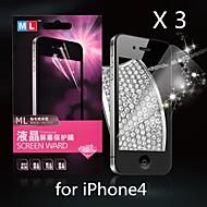 diamant anti-stråling skjermbeskytter for iPhone4/4S (3 stk)