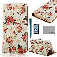 COCO FUN ® Rose White Pattern PU Leather Case Full Body com Filme, Stand e Stylus para iPhone 5/5S