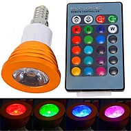 E14 3 W 1 High Power LED 180 LM RGB Remote-Controlled Spot Lights AC 85-265 V