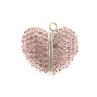 zp 64gb rosa Herzform Kristallmuster bling Diamant-Metal-Stil USB-Stick