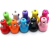 Car Charger with Dual USB Ports for Mobile Phones (Assorted Colors, 5V 2.1A)