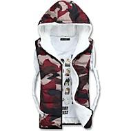 Zian® Men's V Neck Cardigan Zipper Hoodies Keep Warm Camouflage Assorted Color Sleeveless Cotton Waistcoat