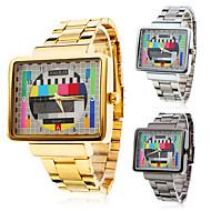 relógio relógio de vestido padrão tv caixa quadrada banda de aço dos homens