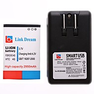 Link Dream  Cell Phone Battery+Charger  for   HTC EVO 4G  (2950 mAh)