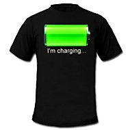 Mens Light Up LED T-shirt battery charging pattern Fixed Mode Flashing EL Nylon for Party Bar Raver