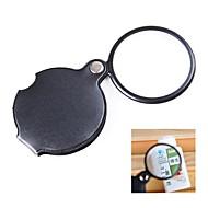 pocket 6x beläggning optisk lins förstoringsglas med vridbar PU läder omslag