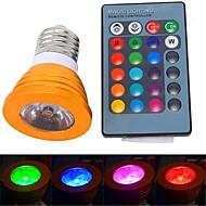 E26/E27 3 W 1 High Power LED 180 LM RGB Remote-Controlled Spot Lights AC 85-265 V