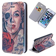 Special Grains Skulls Marilyn Clear Pattern PU Full Body Case with Card Slot for iPhone 5/5S