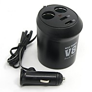 Tirol New 12V 2-Way Cup Holder Auto Adapter With 2Usb  Car Charger 5V/2A Splitter Power