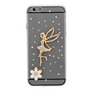 투명 크리스탈 표면 천사와 꽃 패턴 컴퓨터는 다시 아이폰 6에 대한 표지